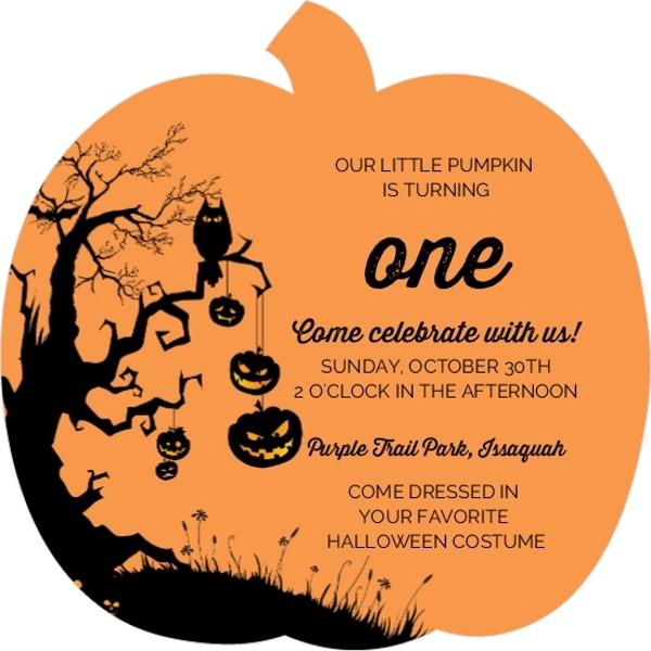 1st Birthday Pumpkin Party Ideas Invitations Wording DIY Decor – Halloween Birthday Invite Wording