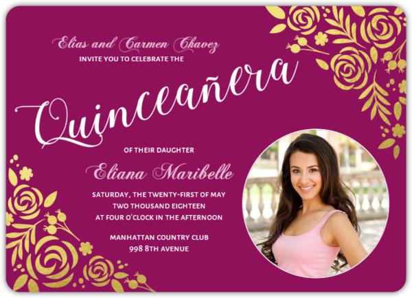 gold foil floral quinceaera invitation - Quinceanera Invitations Wording