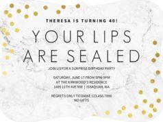 Lips Sealed Surprise Birthday Invitation by PurpleTrail