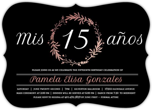 Rose Foil Quinceañera Party Invite