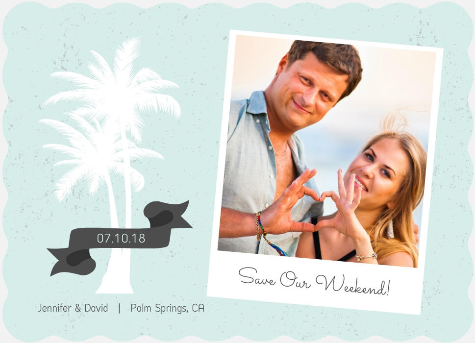 Rustic Palm Tree Beach Save The Date Announcement By WeddingPaperie