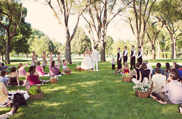 Delightful Vintage Picnic Wedding Photo Courtesy Of Ruffled.com.