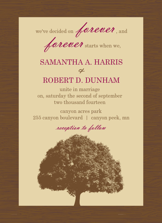Great Brown And Merlot Country Tree Wedding Invitation By PurpleTrail.com.