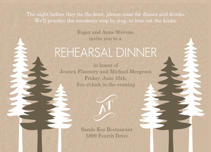 Rustic Pine Trees Rehearsal Dinner Invitation By PurpleTrail.com.