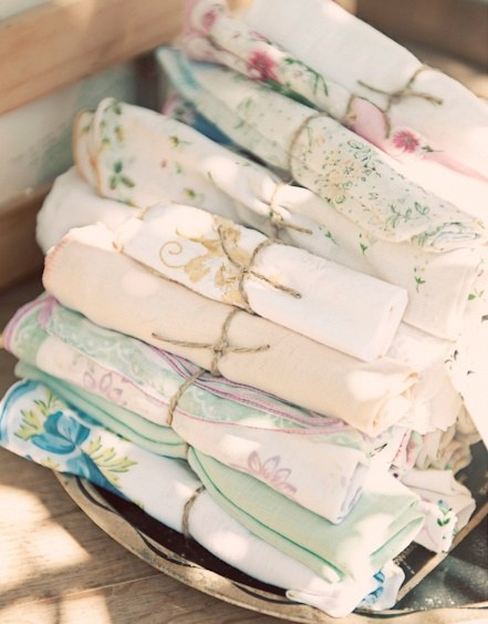 bridal shower themes silverware wrapped in vintage napkins courtesy of buzzfeedcom