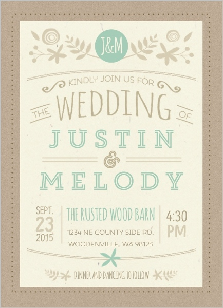 nature mint kraft wedding invitation_22813_2154_1_large how to word wedding invitations, invitation wording ideas, etiquette,Examples Of Wording For Wedding Invitations