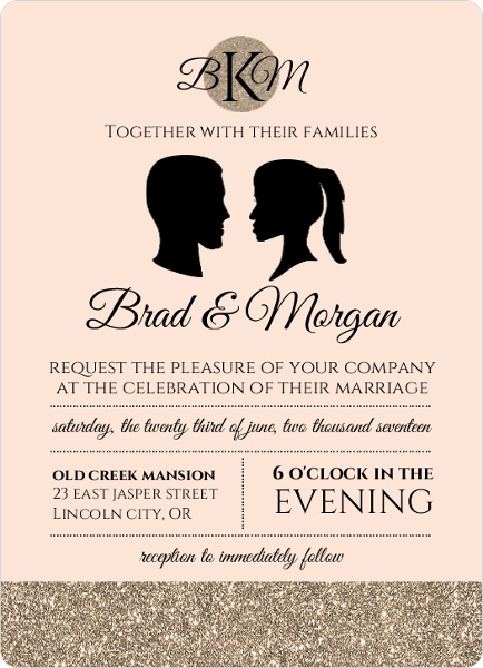 vintage silhouette wedding invitation by weddingpaperiecom - Wedding Invitation Wording Together With Their Parents