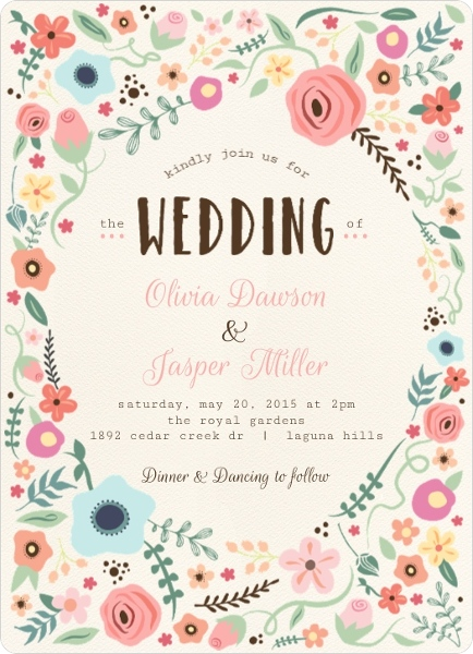 Whimsical Floral Garden Frame Wedding Invitation By WeddingPaperie.com.