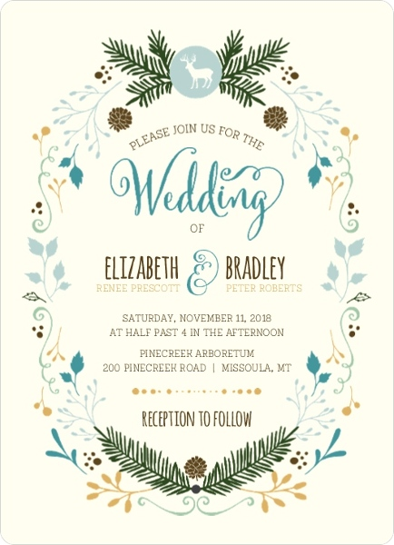 woodland rustic frame wedding invitation by weddingpaperiecom - Wedding Invitation Wording Etiquette