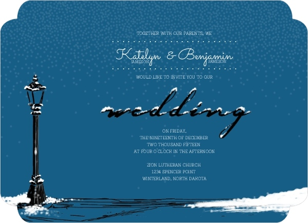 Whimsical Winter Snow Wedding Invitations By WeddingPaperie.com.