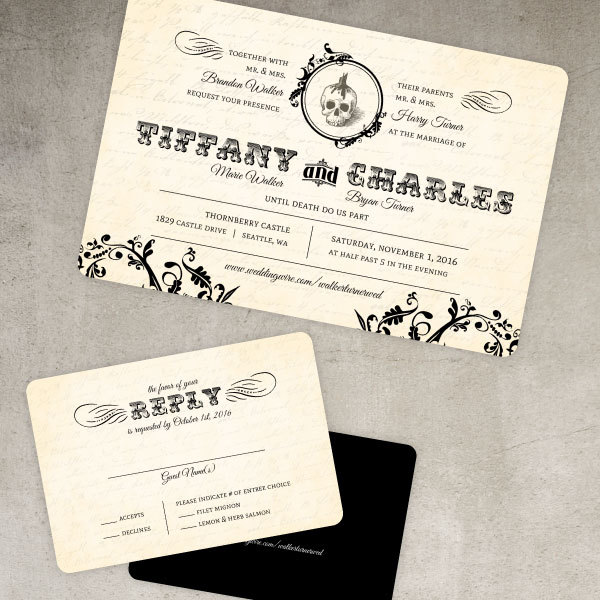 Vintage Halloween Wedding Ideas Themes Invitations Decor Favors – Elegant Halloween Wedding Invitations