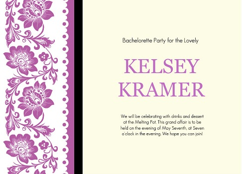 Purple Lace Bachelorette Party Invitation
