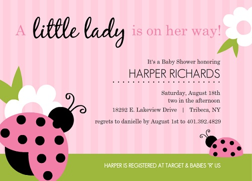 Pink And Green Lady Bug (Set) Girl Baby Shower Invitations