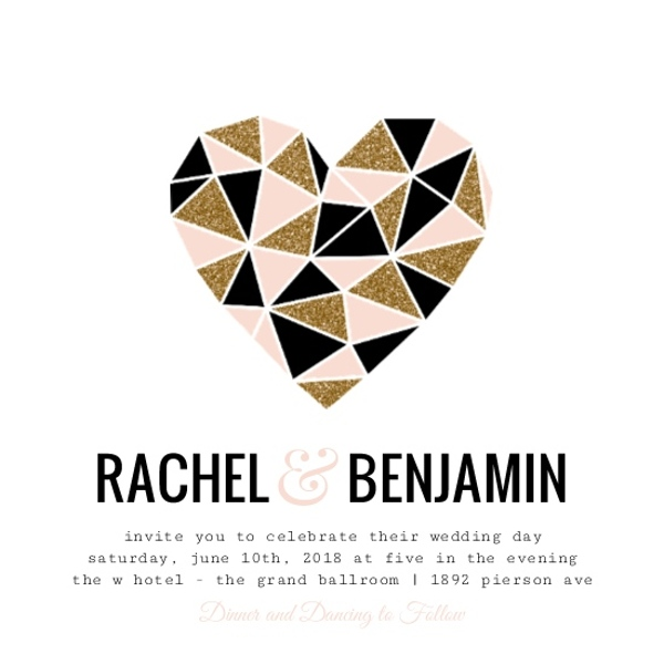 geometric glitter heart wedding invitation by weddingpaperiecom