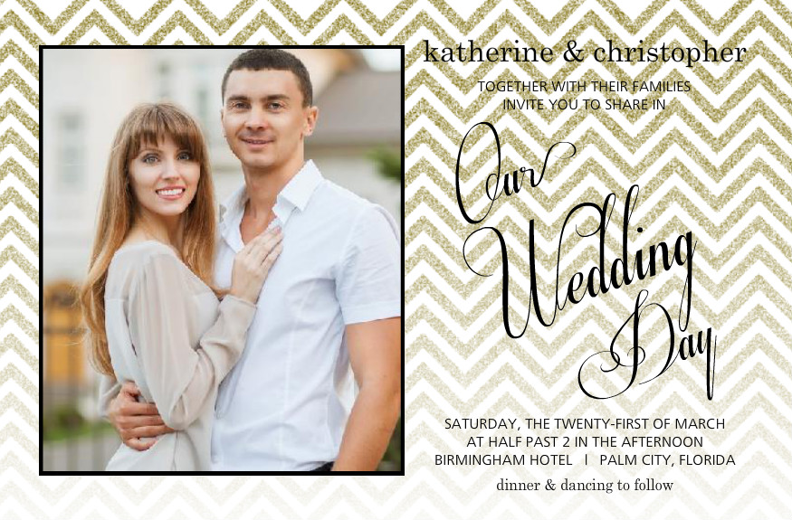 Vintage wedding invitation wording theme ideas retro styles by era gold glitter chevron wedding invitation by purpletrail stopboris Image collections