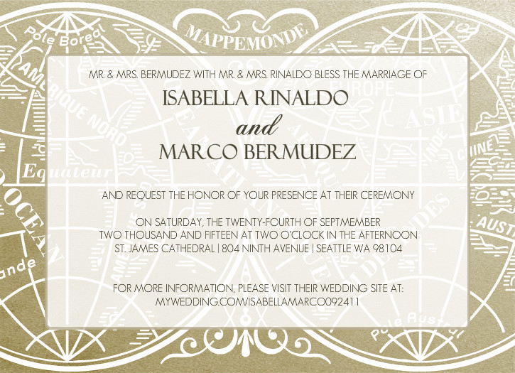 gold metallic antique style wedding invitation by purpletrailcom - Vintage Style Wedding Invitations