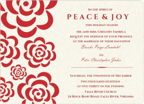 Red Flowers Winter Holiday Wedding Invitation By WeddingPaperie