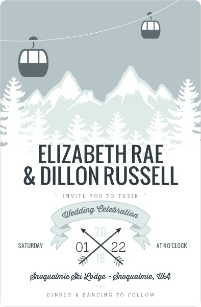 Winter Wedding Invitation Wording Winter Wonderland Holiday Themes