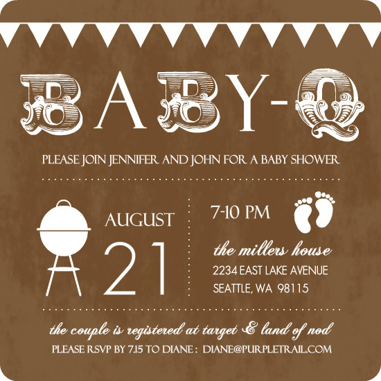 baby q brown and white baby shower invitation by purpletrailcom