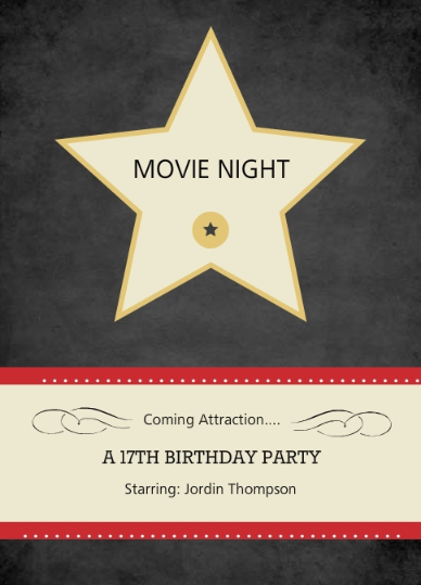 Hollywood Star Movie Night Invite By PurpleTrail
