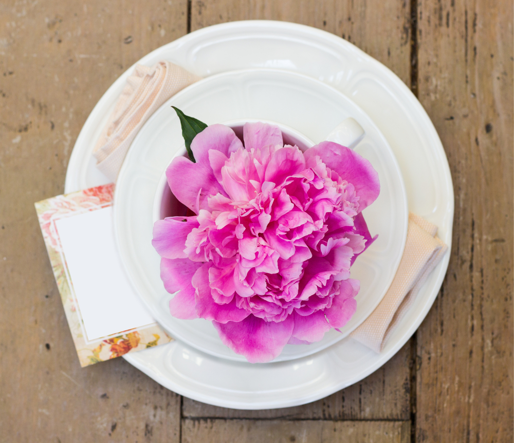 Vintage Tea Party Baby Shower Table Setting With A Blooming Pink Peony.