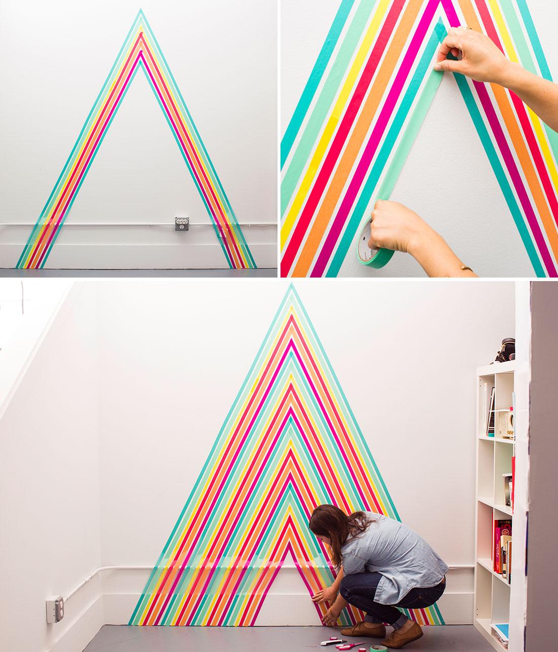 DIY Rainbow Wall Decal Using Washi Tape Courtesy Of Britcoco