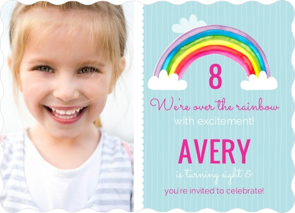 Bright Watercolor Rainbow Birthday Party Invitation by PurpleTrail.com.