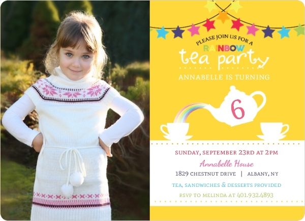 Cheerful Rainbow Tea Party Birthday Invitation By PurpleTrail