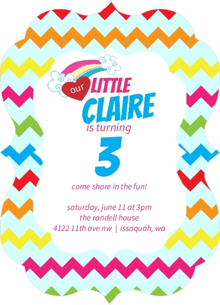 Chevron Rainbow Kids Party Invitation By PurpleTrail Birthday Wording