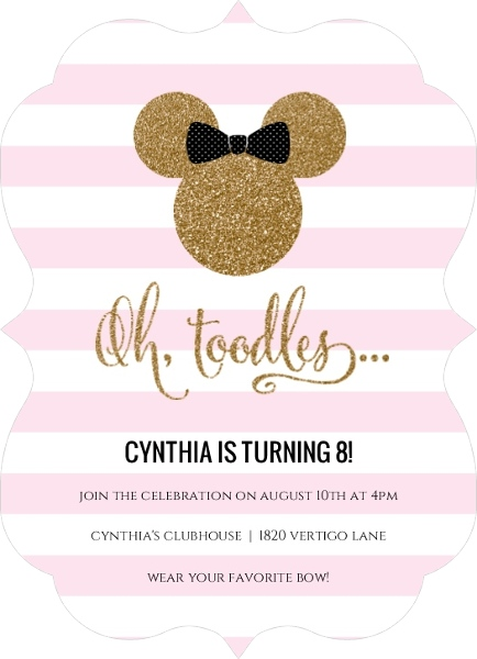 Mickey Mouse Birthday Party Ideas Glamorous Glitter Minnie Invitation