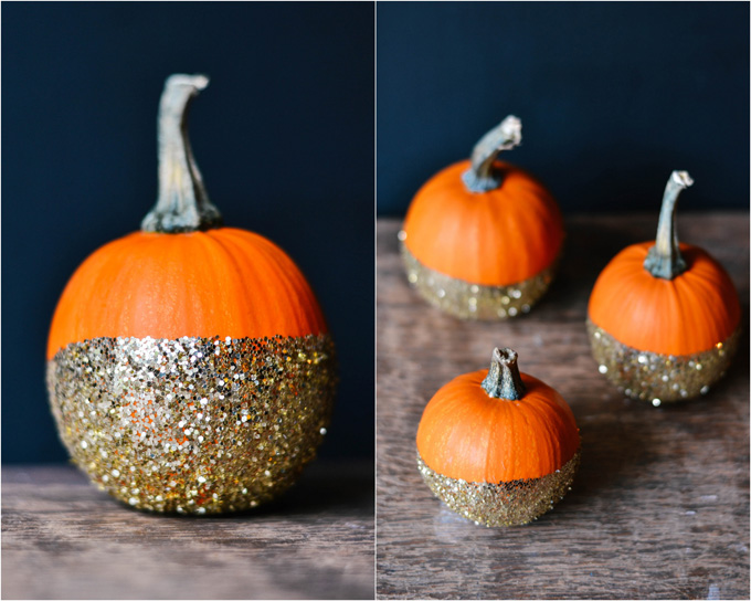 Not So Scary Halloween Party Ideas For Kids DIY Dip Glitter Pumpkins ...