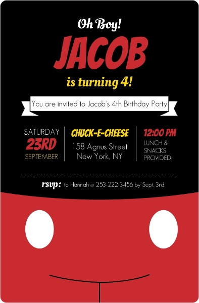 Mickey Mouse Birthday Party Ideas Oh Boy Black And Red Invitation By PurpleTrail
