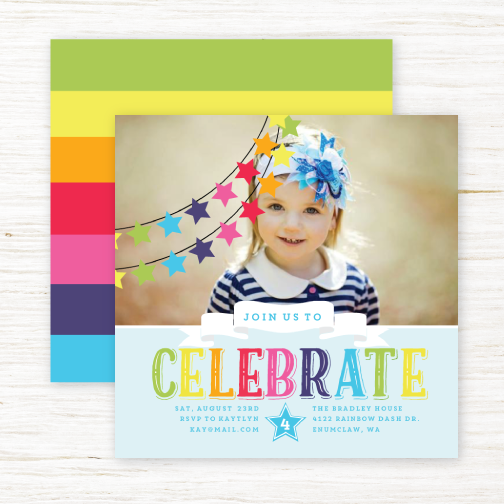 Rainbow Celebrations Kids Birthday Party Invitation By PurpleTrail