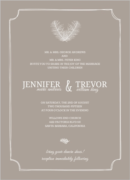 Taupe and Peach Feather Wedding Invitation by PurpleTrail.com