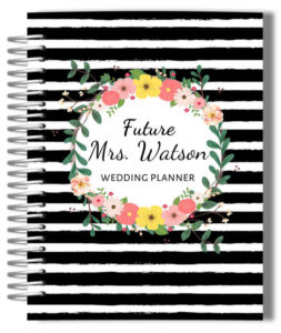 black-and-white-stripes-floral-custom-wedding-planner