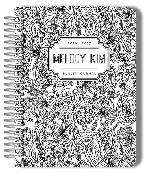 black-and-white-floral-pattern-custom-bullet-journal