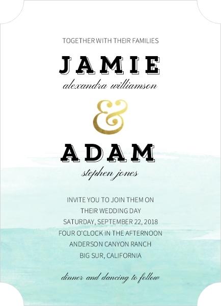 blue ombre wedding invitations