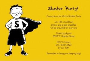 Yellow Super Hero Slumber Party Invitation slumber party movies