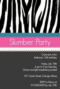 Zebra Patter Slumber Party Invitation Slumber party movies