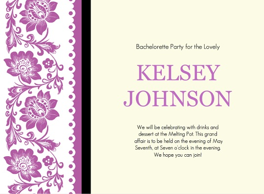 Purple Flowers And Lace Bachelorette Party Game Invitation