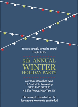 Holiday Lights Blue Corporate Party Invitation