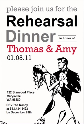 Old Hollywood Black and White Rehearsal Dinner Invitation wording