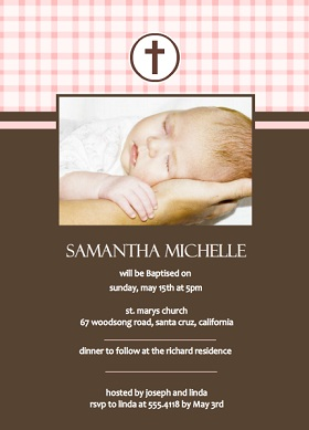 Baptism invitation wording ideas baptism quotes from purpletrail pink gingham and brown baptism invitation wording stopboris Gallery