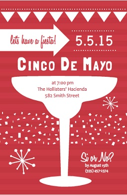 Red Striped Cinco De Mayo Party Invite fiesta party invitation wording
