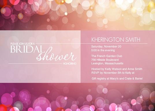 Soft Pink Bubbles Bridal Shower Invitation wording