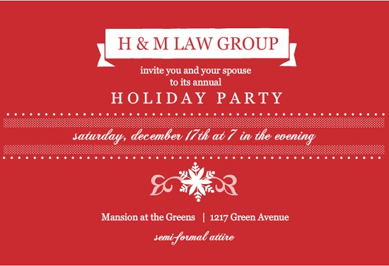 Traditional Red Business Holiday Party Invitation