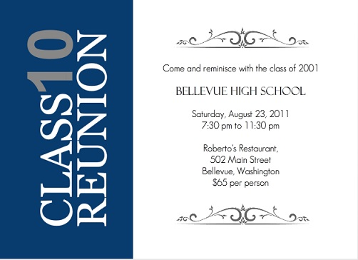 Vertical Blue Stripe High School Class Reunion invitation