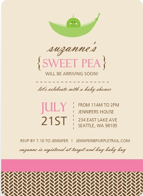 Brown And Pink Sweet Pea Baby Shower Invitation wording