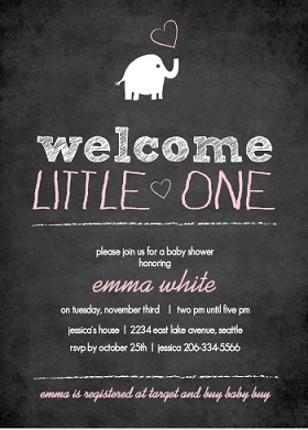 Chalkboard Elephant Girl Baby Shower Invitation