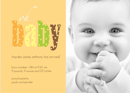 Orange Oh Baby Boy Birth Announcement